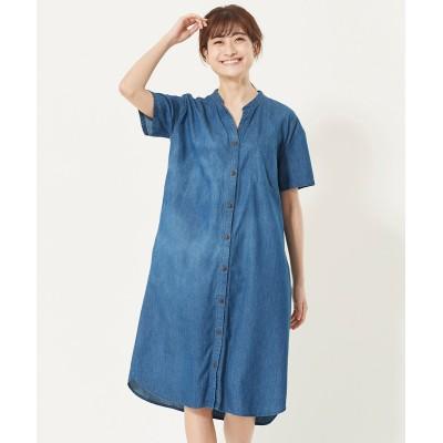 大きいサイズ 綿100%やわらかデニムワンピース ,スマイルランド, ワンピース, plus size dress