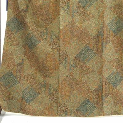 リサイクル着物 小紋 正絹茶グリーン地更紗模様袷小紋着物