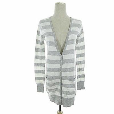 【中古】ザラ トラファルック ZARA Trafaluc trf knitwear カーディガン ニット ロング ボーダー 長袖 M グレー