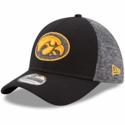 New Era ニュー エラ スポーツ用品  New Era Iowa Hawkeyes Black/Heathered Gray Fierce Fill 39THIRTY Flex Hat
