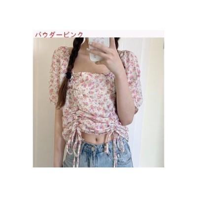 【送料無料】夏 韓国風 レトロな花柄 ラペル シャツ パフ 半袖 引   346770_A62851-8212385