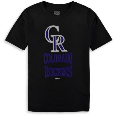 キッズ スポーツリーグ メジャーリーグ Colorado Rockies Youth Link Up Dri-Tek T-Shirt - Black Tシャツ