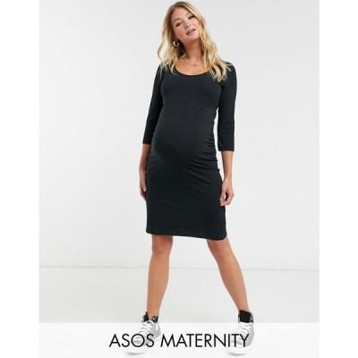 ママリシャス Mama.licious レディース ワンピース マタニティウェア ミドル丈 Mamalicious Maternity Jersey Midi Dress In Black ブラック
