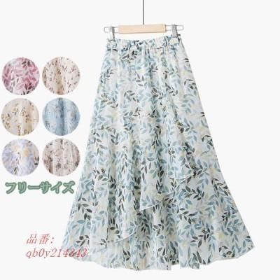 スカート シフォン フリーサイズ 花柄 Aライン 夏スカート 着痩せ効果 レディース ゴムウエスト 美脚ラインも綺麗 着心地抜群で