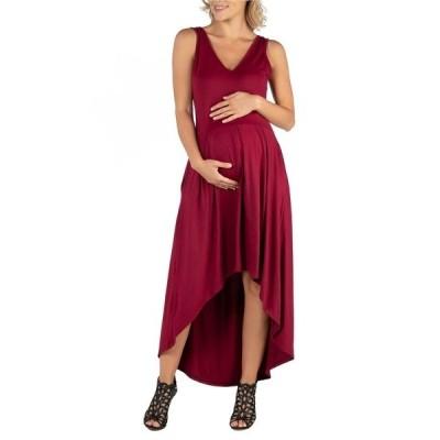 24セブンコンフォート ワンピース トップス レディース Sleeveless Fit N Flare High Low Maternity Dress Red
