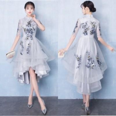 結婚式 ドレス パーティードレス お呼ばれ ワンピース 二次会 ドレス 袖あり フィッシュテール チャイナドレス 大きいサイズ