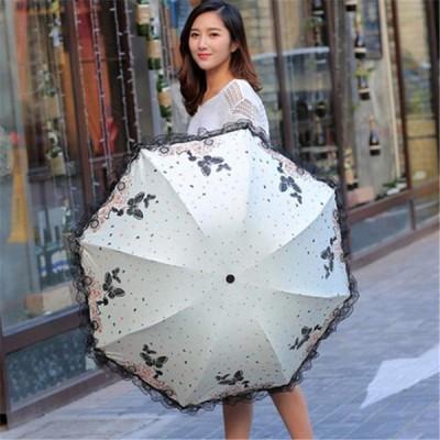 [ホワイト]黒いプラスチック日傘を折る抗UV日傘を飛んでいる香りのよい車の美しさ蝶