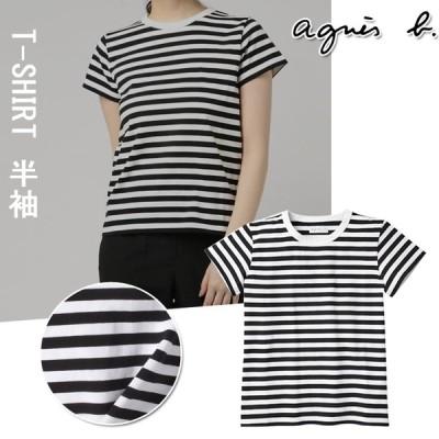 在庫処分 agnes b. アニエスベー  レディース Tシャツ HOMME ロンT ストライプ カットソー 半袖 T-シャツ ロングTシャツス トライプ