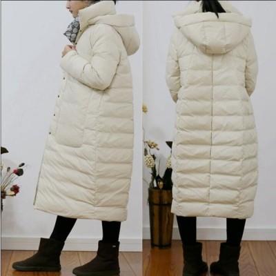 2色 ダウンコート ダウンジャケット 女性 中綿 ロング丈 アウター 防寒 軽量 防風 キレイめ 暖かい カジュアル 通勤 OL  シンプル フード付き