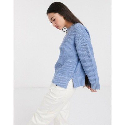 セレクティッド レディース ニット・セーター アウター Selected Femme oversized sweater with side splits in blue