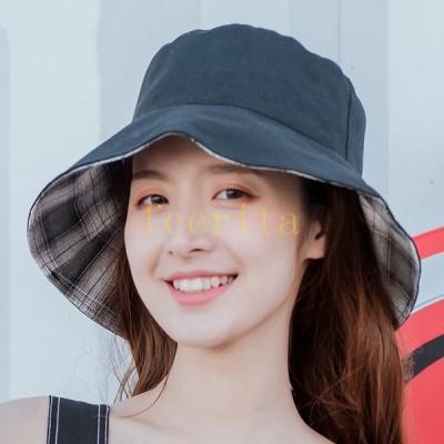 リバーシブルハット日除け帽サンハットレディース女性用帽子チェック柄カジュアルつば広日焼け防止おしゃれファッション外出お出かけ