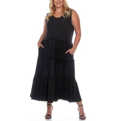 ホワイトマーク ワンピース トップス レディース Plus Size Scoop Neck Tiered Midi Dress Black