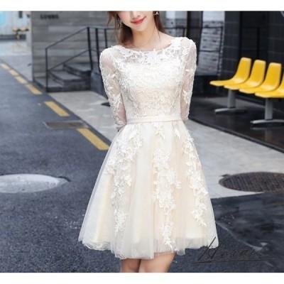パーティードレス ミニ丈 五分袖 花柄 刺繍 Aライン 白 レース ワンピース ドレス ワンピ 結婚式 二次会 お取り寄せ
