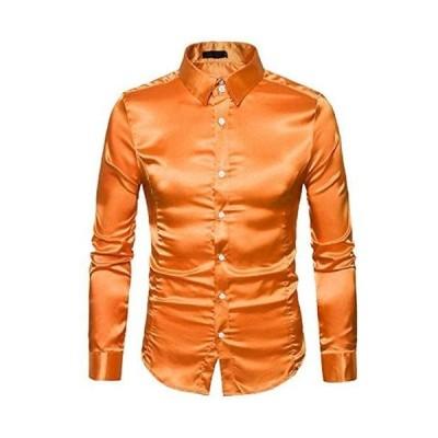Buona stimolo (ボナスティモーロ) メンズ シャツ 光沢 長袖 カラー ワイシャツ カットソー おしゃれ トップス(オレンジ S)