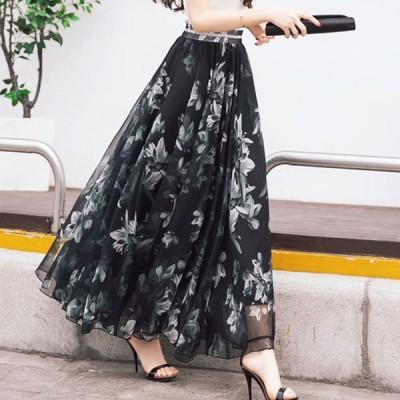 2019 夏6色★最強の新作★韓国ファッション可愛い デザイン ハイウエストシフォン ロングスカート