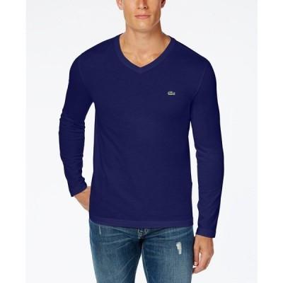 ラコステ Tシャツ トップス メンズ Men's V-Neck Long Sleeve Jersey T-Shirt Navy