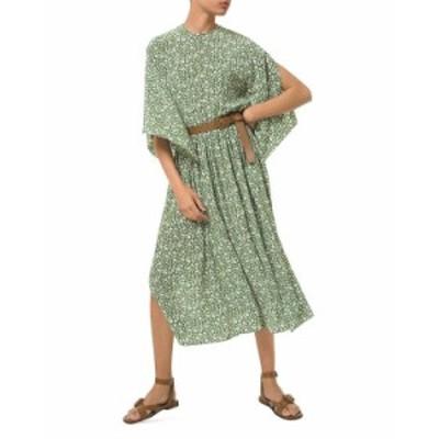 マイケルコース レディース ワンピース トップス MICHAEL Floral Print Flutter Sleeve Silk Dress Lawn/white