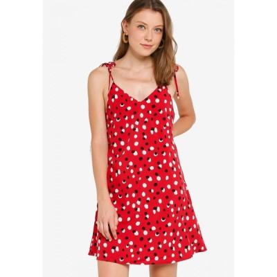 ザローラ ZALORA BASICS レディース パーティードレス ミニ丈 ワンピース・ドレス Basic Tie Straps Mini Swing Dress Red Base Abstract Dots