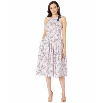 ドナモーガン レディース ワンピース トップス Halter Neck Stretch Cotton Poplin Midi Dress w/ Paper-Bag Waist Blush/Blue