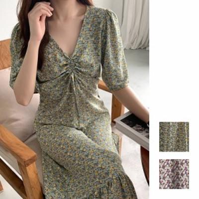 韓国 ファッション レディース ワンピース 夏 春 カジュアル naloI453  ゆったり Aライン 胸元ギャザー 五分袖 シンプル コーデ 定番 セ