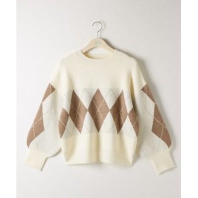 セーター ニット 大きいサイズ レディース アーガイル プルオーバー 冬 アイボリー/レンガ LL/3L ニッセン nissen