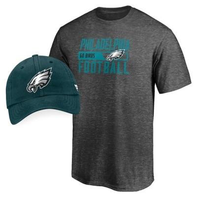 ファナティクス ブランデッド メンズ Tシャツ トップス Philadelphia Eagles Fanatics Branded T-Shirt & Adjustable Hat Combo Set