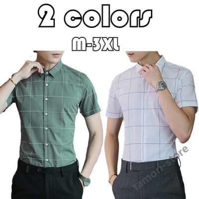 チェック柄 シャツ メンズ カジュアルシャツ ワイシャツ 綿 夏 半袖 ビジネスシャツ 大きいサイズ カジュアルシャツ ビジネス ファッション 新作