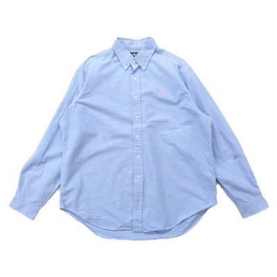 ラルフローレン Ralph Lauren オックスフォード ボタンダウンシャツ チェック 長袖 サックスブルー サイズ表記:XL