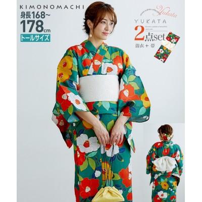 KIMONOMACHI トールサイズ 浴衣2点セット(ゆかた+作り帯) 【高身長・長身】甚平(じんべい)Yukata
