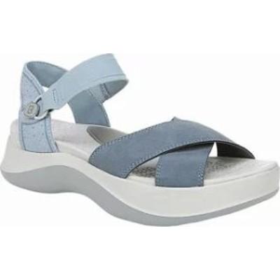 Bzees レディースサンダル Bzees Poppy Ankle Strap Sandal Stone Blue Seersucke