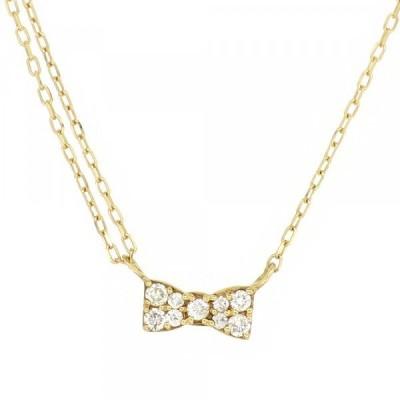 パヴェ ゴールドネックレス(チェーン付きペンダント) リボン 蝶ネクタイ 18金 イエローゴールド ダイヤモンド