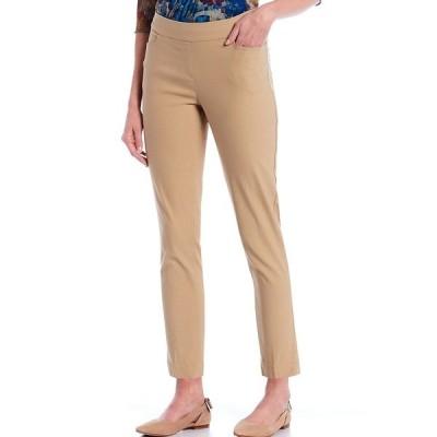 マルチプルズ レディース カジュアルパンツ ボトムス Petite Size Wide Waistband Pull-On Plain Weave Ankle Pants Khaki