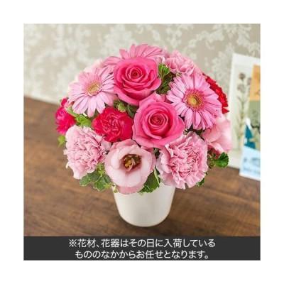 フラワーギフト・ラッピング付  日比谷花壇 おまかせアレンジメント「ピンク・ローズ系」 TA2983(直送品)