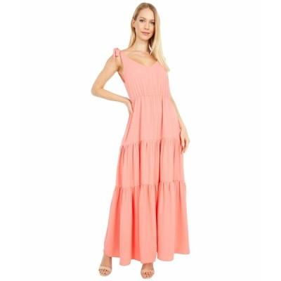 アメリカンローズ ワンピース トップス レディース Sonia Ruffle Maxi Dress with Shoulder Ties Coral