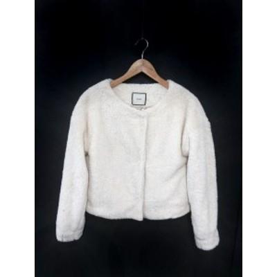 【中古】ジュエティ jouetie ジャケット ノーカラー 刺繍 フリース M 白 ホワイト /YK9 レディース