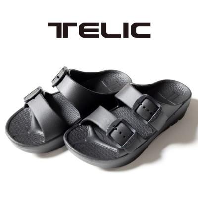 TELIC W-BUCKLE BLACK テリック ダブルバックル ブラック サンダルプール 海 室内履き ビーチサンダル 歩行をサポート アウトドア