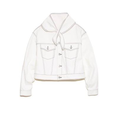 【ファーファー】 ノーカラーデニムジャケット レディース ホワイト F FURFUR