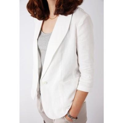 テーラードジャケット サマージャケットリネン 麻ジャケット 七分袖 ショート丈 1つボタン シンプル 無地