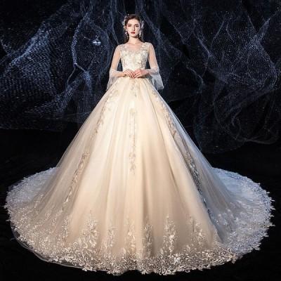 ウエディングドレス レディース 編み上げ プリンセスドレス 白い ブライダルドレス 花嫁 Aライン トレーン 演奏会  前撮り ドレス