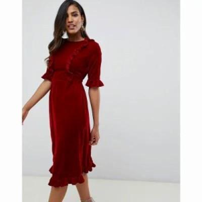 エイソス ワンピース velvet midi dress with ruffles Red