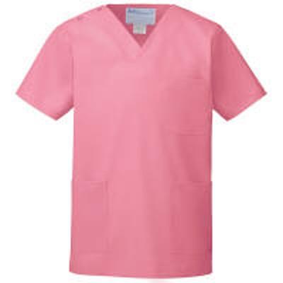 KAZENKAZEN カラースクラブ(男女兼用) 医療白衣 半袖 チェリーピンク 4L 133-92(直送品)