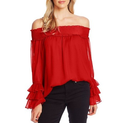 セセ レディース シャツ トップス Off-The-Shoulder Long Sleeve Ruffle Detail Smocked Volume Blouse Ribbon Red