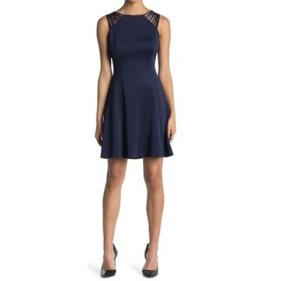 ゲス レディース ワンピース トップス Fit And Flare Dress With Shoulder Detailing NAVY/GOLD