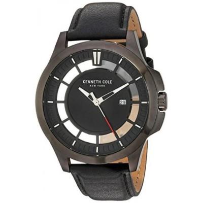 ケネスコール 腕時計 メンズウォッチ Kenneth Cole New York Men's 'Transparency' Quartz Stainless Steel and Leather Dress Watch, Color:Black (Model: