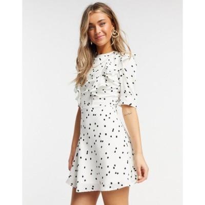 インフルエンス レディース ワンピース トップス Influence frill bib mini dress in white polka dot White