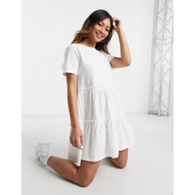 リバーアイランド レディース ワンピース トップス River Island tiered smock mini T-shirt dress in white White