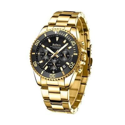 メンズ 腕時計 クロノグラフ ステンレススチ-ル 防水 日付 アナログ クォ-ツ ファッション ビジネス 腕時計 メンズ All Gold Black
