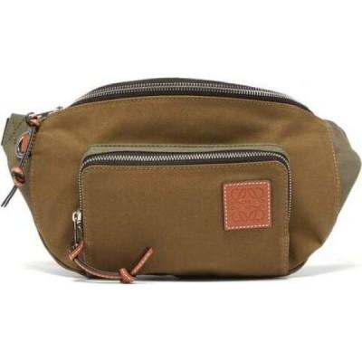ロエベ Loewe Paula's Ibiza メンズ ボディバッグ・ウエストポーチ バッグ Logo-patch canvas belt bag? Green?