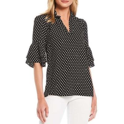 マイケルコース レディース シャツ トップス MICHAEL Michael Kors Logo Dot Print Textured Crepe Flounce Cuff Ruffle Trim V-Neck Top Black/Multi