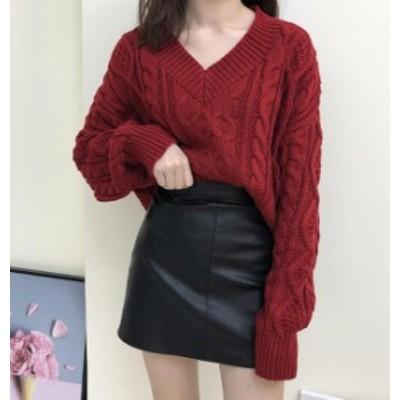 韓国 ファッション レディース ニット トップス Vネック ケーブル編み 長袖 ゆったり 大人可愛い カジュアル シンプル 秋冬